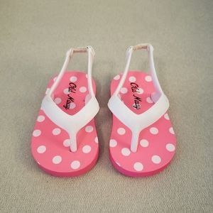 Old Navy Neon Pink Polka Dot Flip Flops